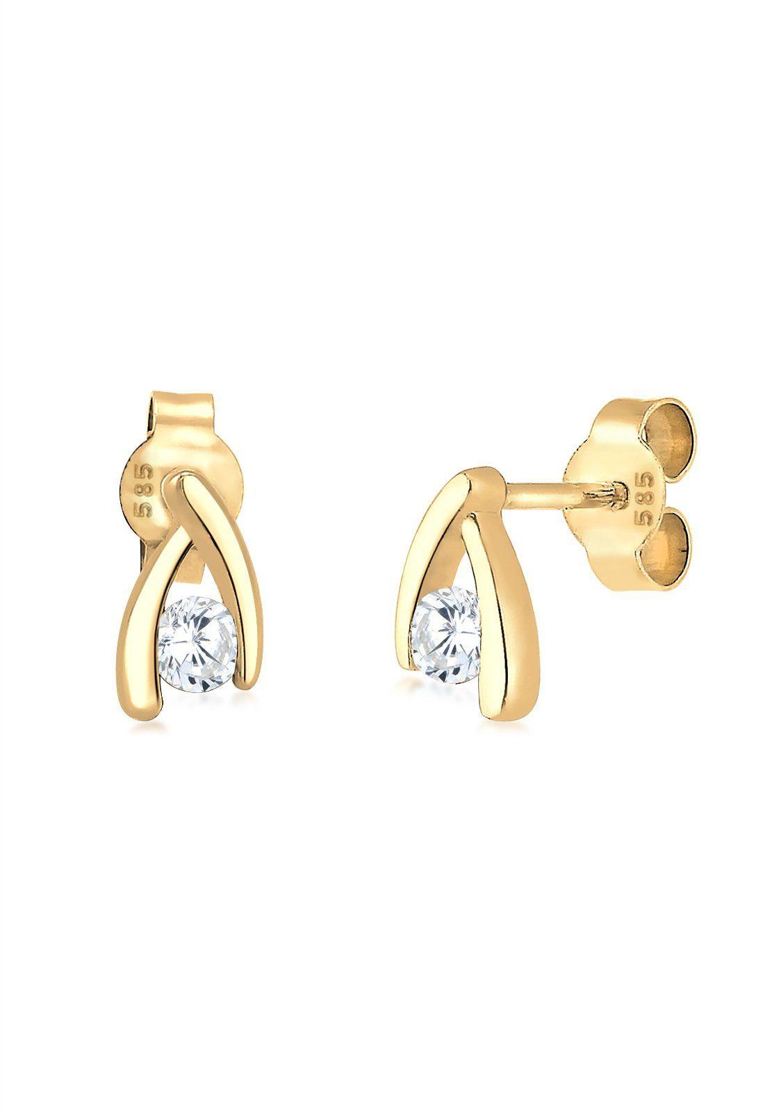 Elli Ohrringe »Zirkonia 585 Gelbgold«
