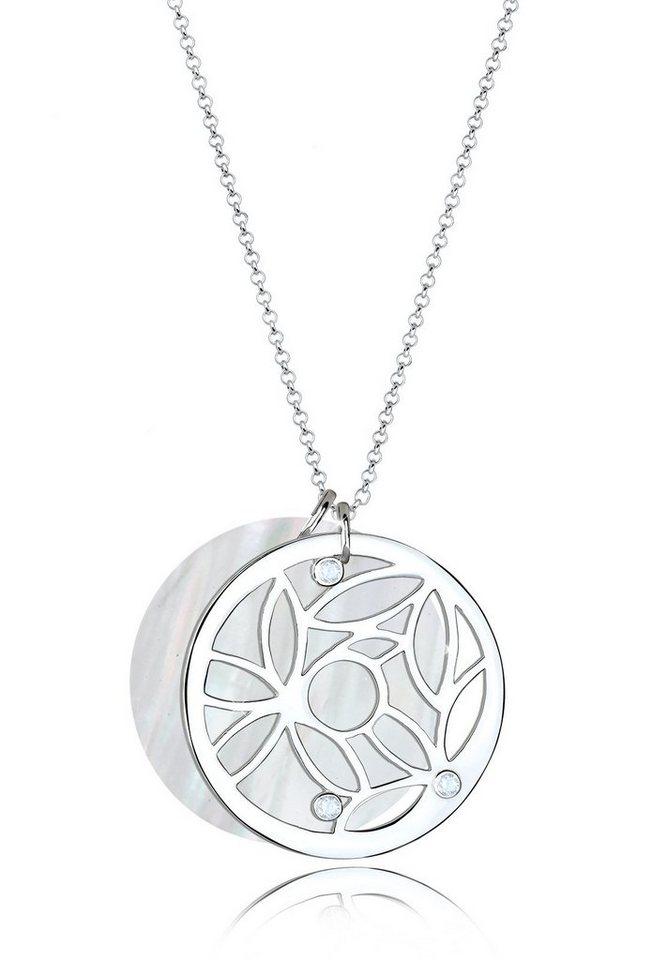 Elli Halskette »925 Sterling Silber Ornament Perlmuttscheibe Topas« in Weiß