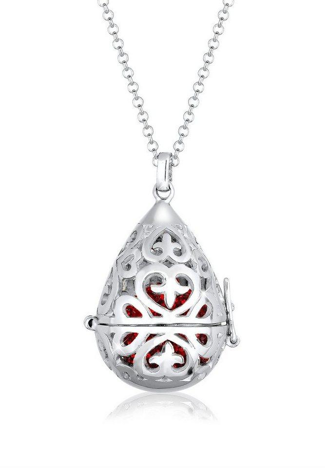 Elli Halskette »Symbolische Kugel Swarovski® Kristalle 925 Silber« in Rot