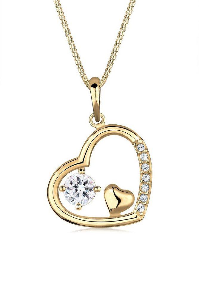 Goldhimmel Halskette »Herz Swarovski Kristalle Sterling Silber vergoldet« in Weiß