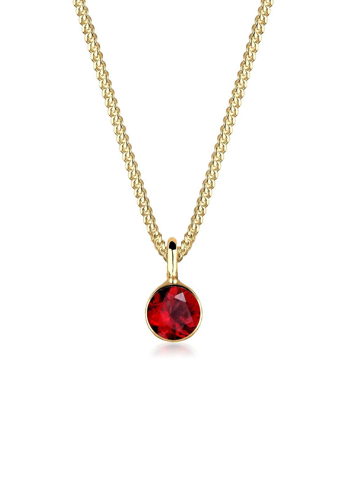 Elli Halskette »Granat 925 Sterling Silber vergoldet«