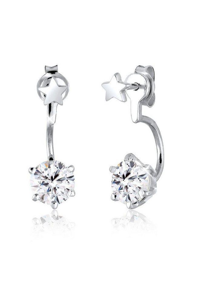 Elli Ohrringe »Front-Back Sterne Swarovski® Kristalle 925 Silber« in Silber