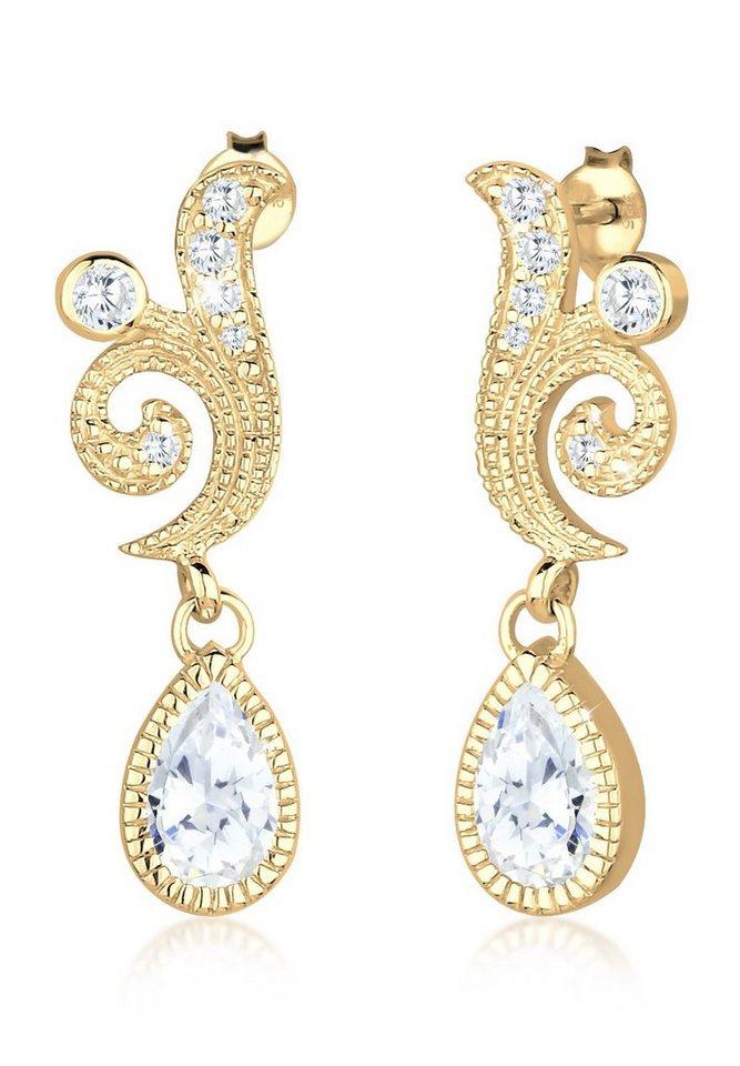 Elli Ohrringe »Ornament Tropfen Festlich Zirkonia 925 Silber« in Gold