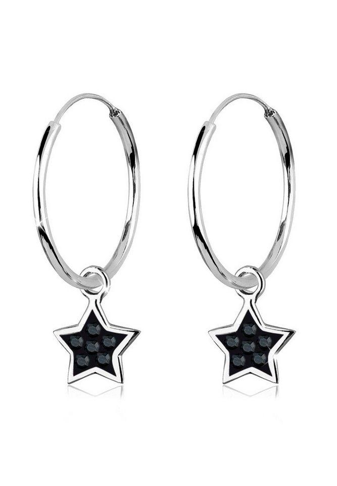 Elli Ohrringe »Creolen Stern Swarovski® Kristalle 925 Silber« in Schwarz