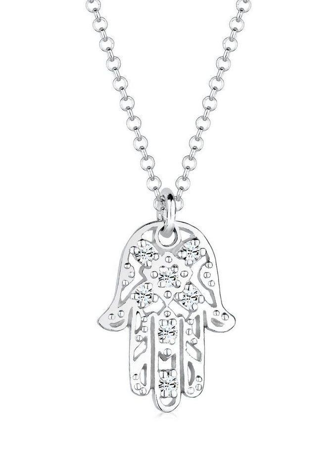 Elli Halskette »Hamsa Hand Swarovski® Kristall 925 Sterling Silber« in Silber