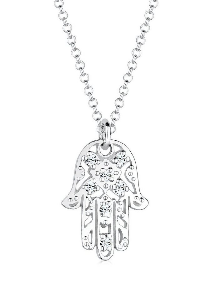 Elli Halskette »Hamsa Hand Swarovski® Kristalle 925 Sterling Silbe« in Silber