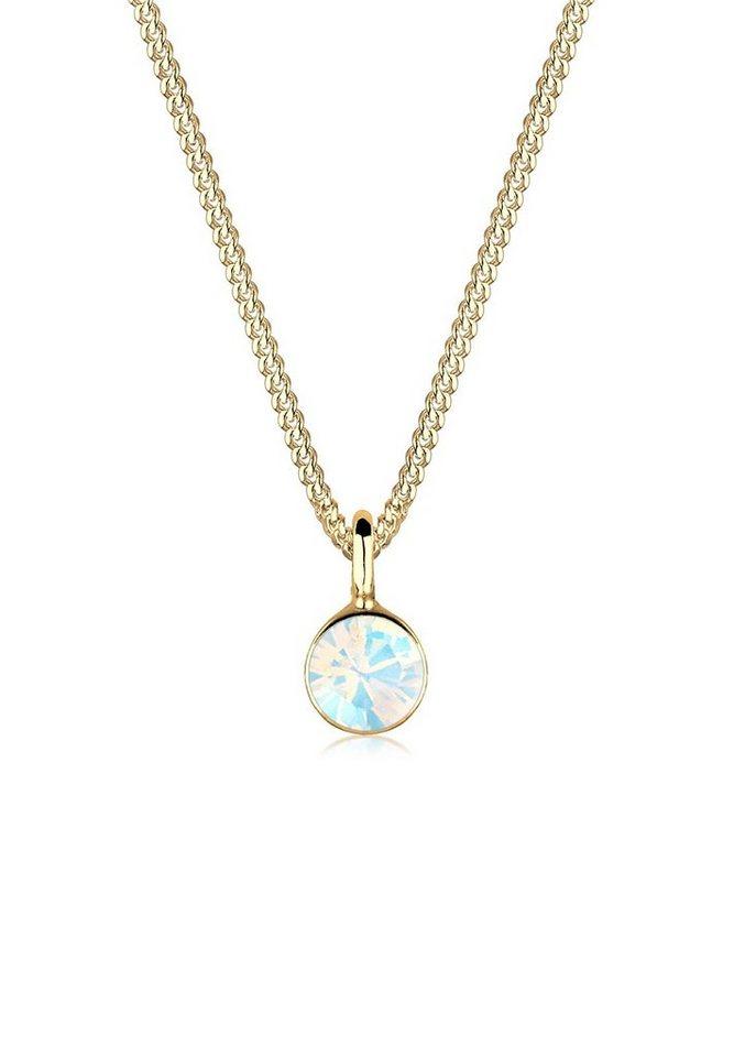 Goldhimmel Halskette »Solitär Swarovski® Kristalle 925 Sterling Silber« in Weiß