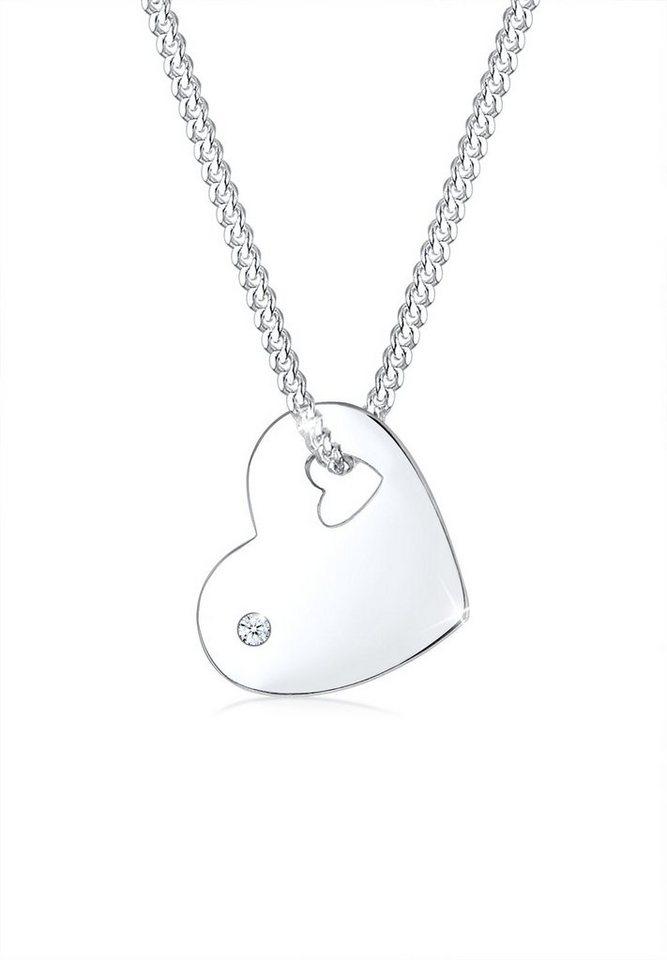 Diamore Halskette »925 Sterling Silber Herz Diamant« in Weiß