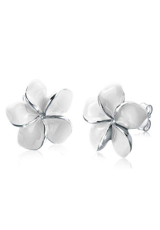 Elli Ohrringe »925 Sterling Silber Frangipani Blüte« in Weiß