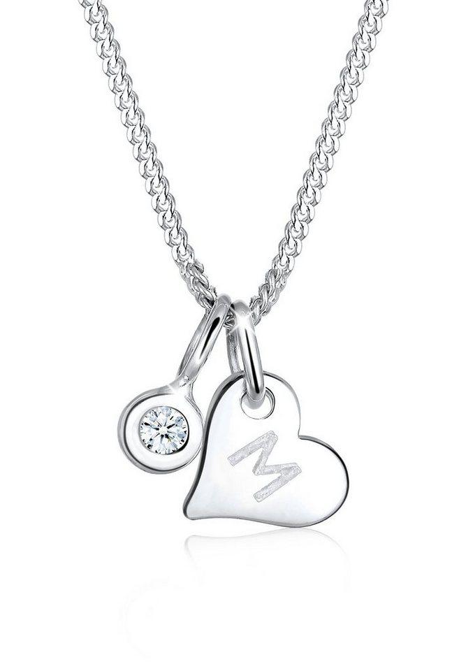 Elli Halskette »Herz Buchstabe Diamant 925 Sterling Silber« in Silber