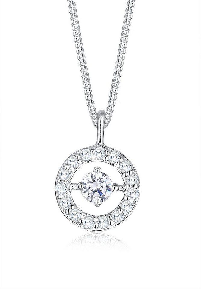 Elli Halskette »Kreis Rund Zirkonia 925 Sterling Silber« in Silber