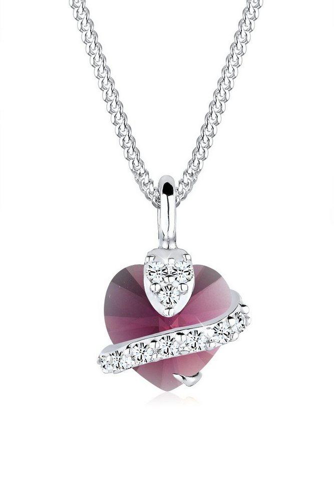 Elli Halskette »Herz Swarovski® Kristall 925 Sterling Silber« in Violett hell