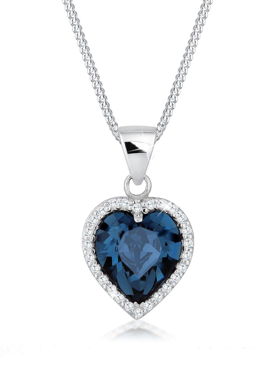 Elli Halskette »Herz Edel Swarovski® Kristalle 925 Sterling Silber«