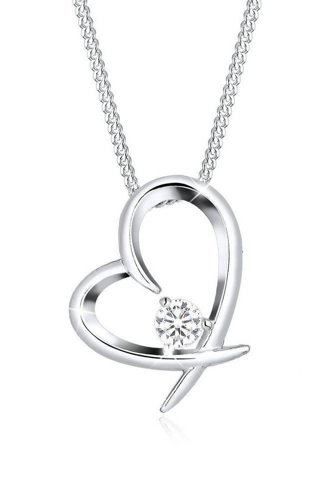 Elli Halskette »Herz Zirkonia 925 Sterling Silber Klassiker« in Weiß