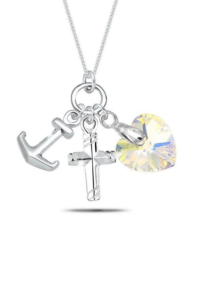 Elli Halskette »Anker Herz Kreuz Swarovski Kristalle 925 Silber« in Weiß