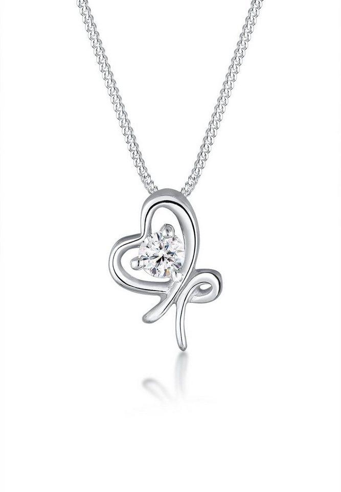 Elli Halskette »Schleife Swarovski® Kristalle 925 Sterling Silber« in Weiß