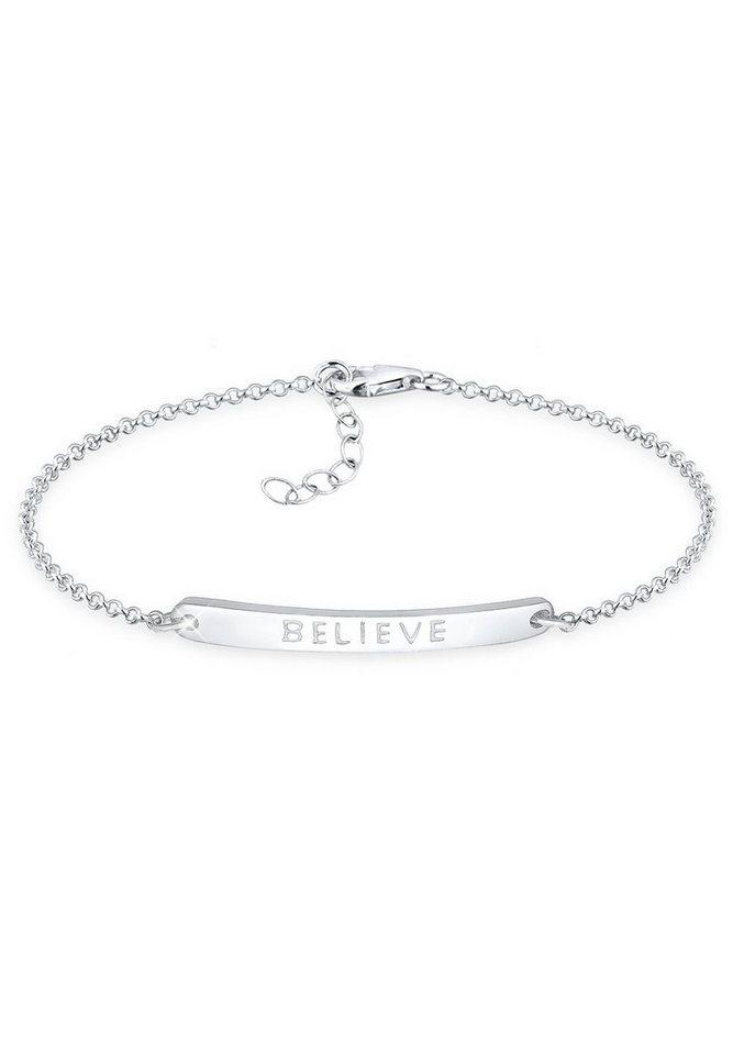 Elli Armband »Believe-Schriftzug 925 Sterling Silber« in Silber