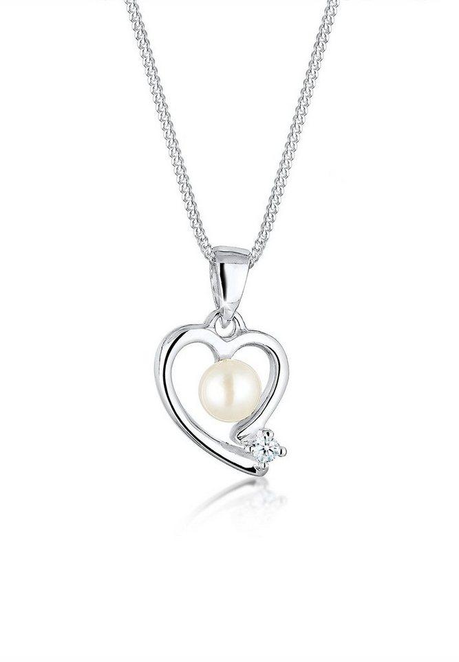 Diamore Halskette »Herz Diamant Süßwasserperle 925 Sterling Silber« in Weiß