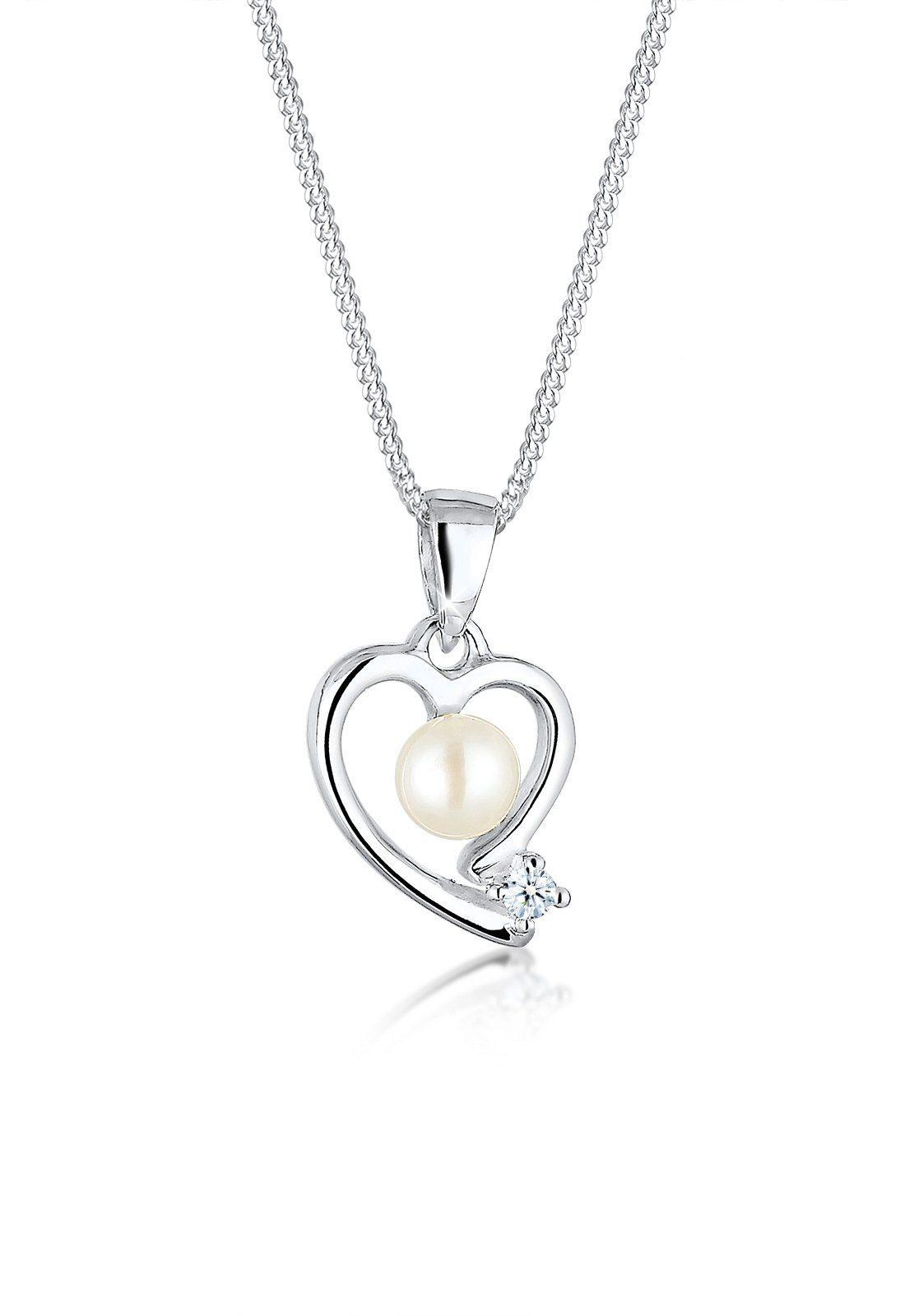 Diamore Halskette »Herz Diamant Süßwasserperle 925 Sterling Silber«
