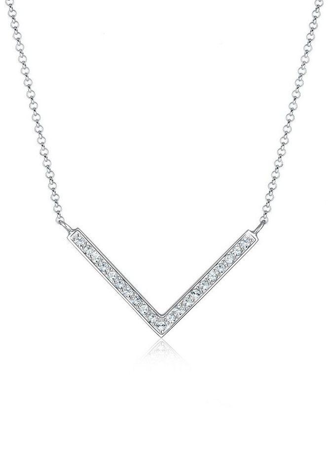 Elli Halskette »V-Kette Dreieck Swarovski® Kristalle 925 Silber« in Weiß