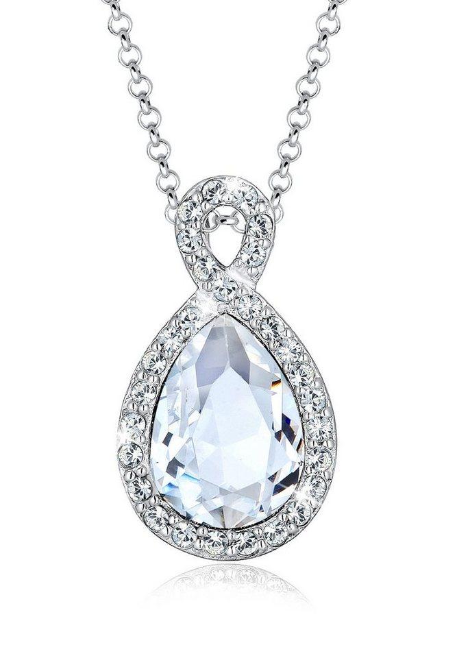 Elli Halskette »Unendlichkeit Swarovski® Kristalle Sterling Silber« in Weiß