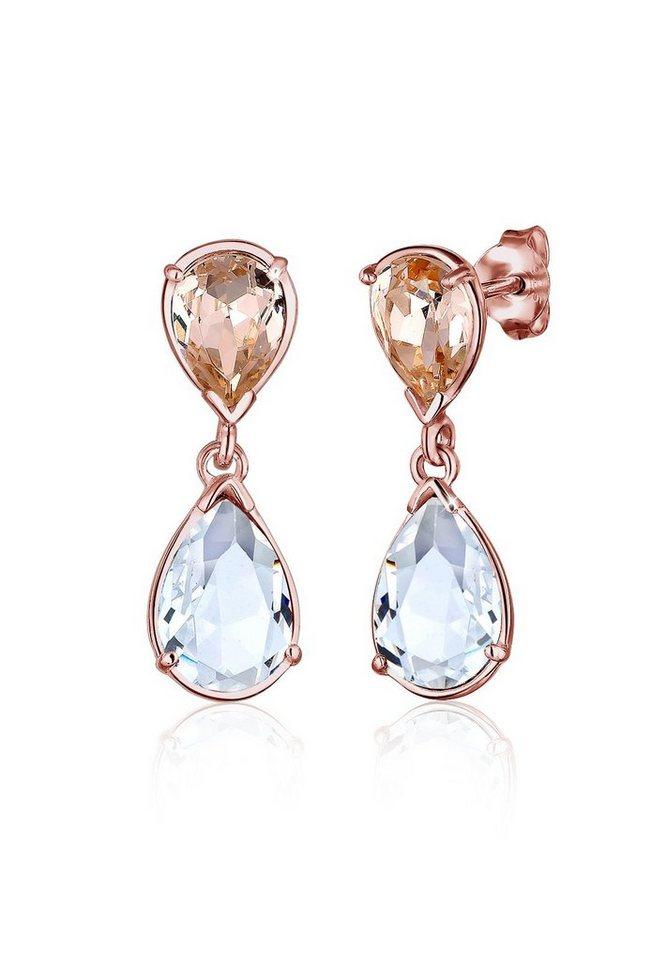 Elli Ohrringe »Tropfen Swarovski® Kristalle 925 Sterling Silber« in Rosegold