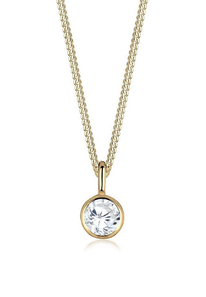 Elli Halskette »Solitär Zirkonia 585 Gelbgold« in Gold
