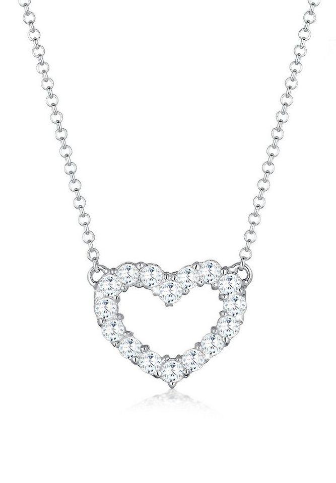 Elli Halskette »925 Sterling Silber Herz Zirkonia« in Weiß