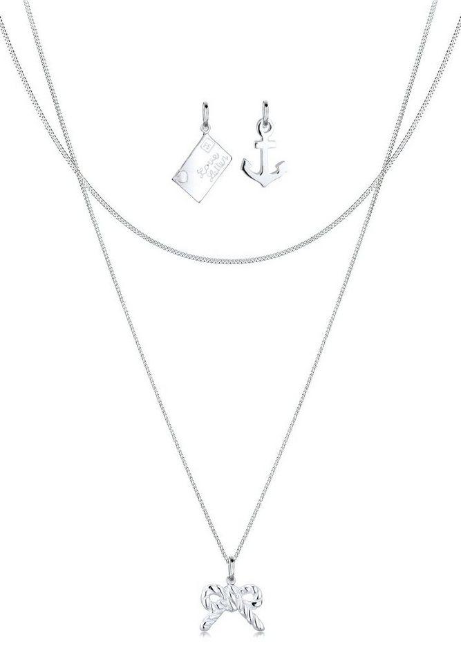 Elli Set: Halskette »Anhänger-Set Brief Anker Schleife 925 Silber« 3 tlg. in Silber
