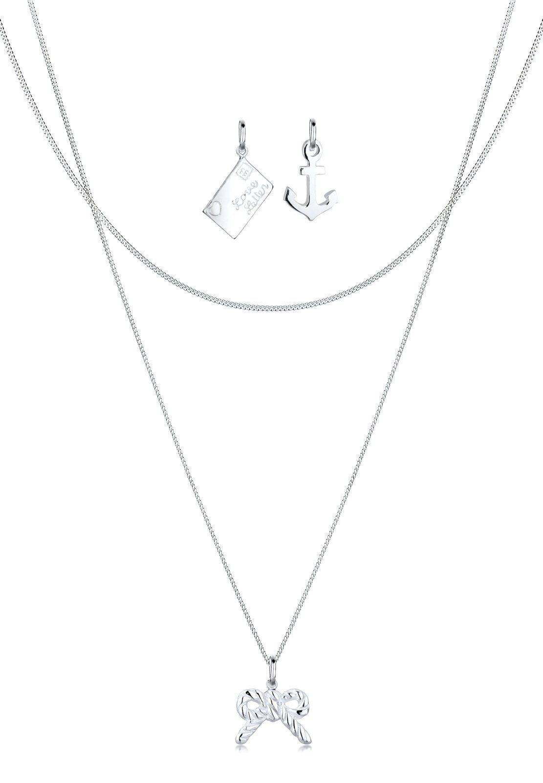 Elli Set: Halskette »Anhänger-Set Brief Anker Schleife 925 Silber« 3 tlg.