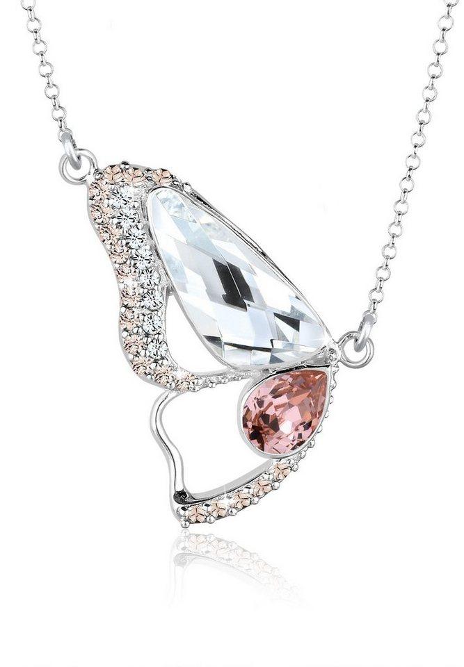 Elli Halskette »Sterling Silber Schmetterling Swarovski Kristalle« in Rosa