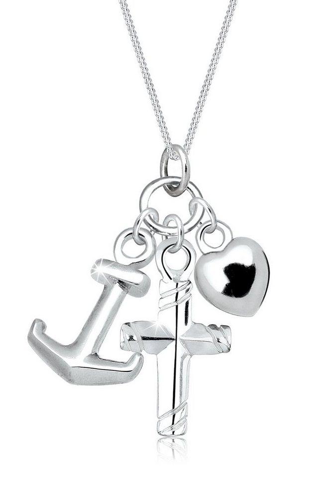 Elli Halskette »Kreuz Herz Anker Glaube Liebe Hoffnung 925 Silber« in Silber
