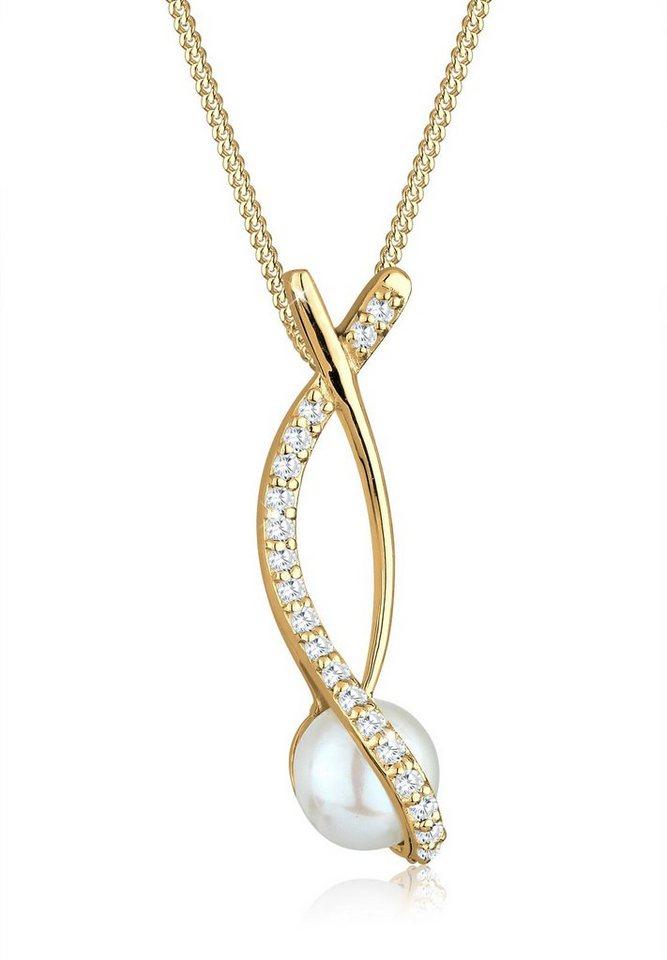 Perlu Halskette »Perle Ranke Zirkonia 925 Sterling Silber« in Weiß