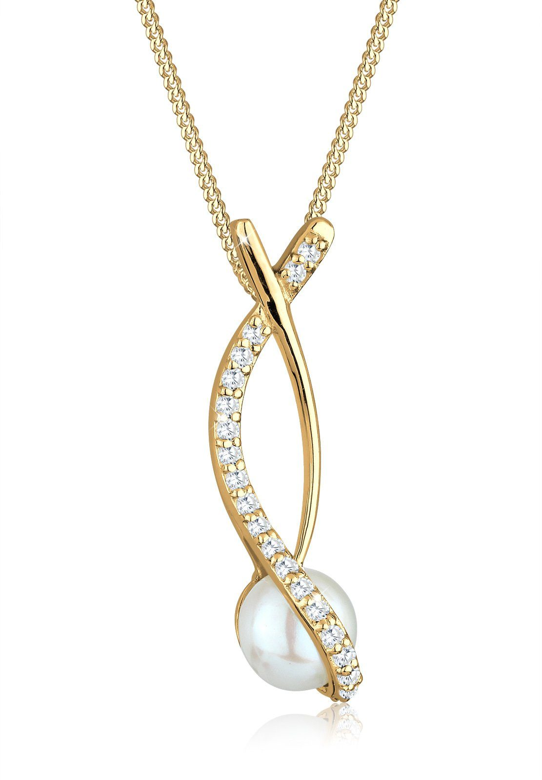 Perlu Halskette »Perle Ranke Zirkonia 925 Sterling Silber«