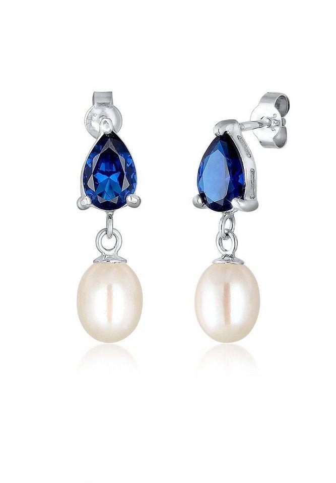 Elli Ohrringe »Süßwasserzuchtperle Tropfen 925 Silber« in Blau