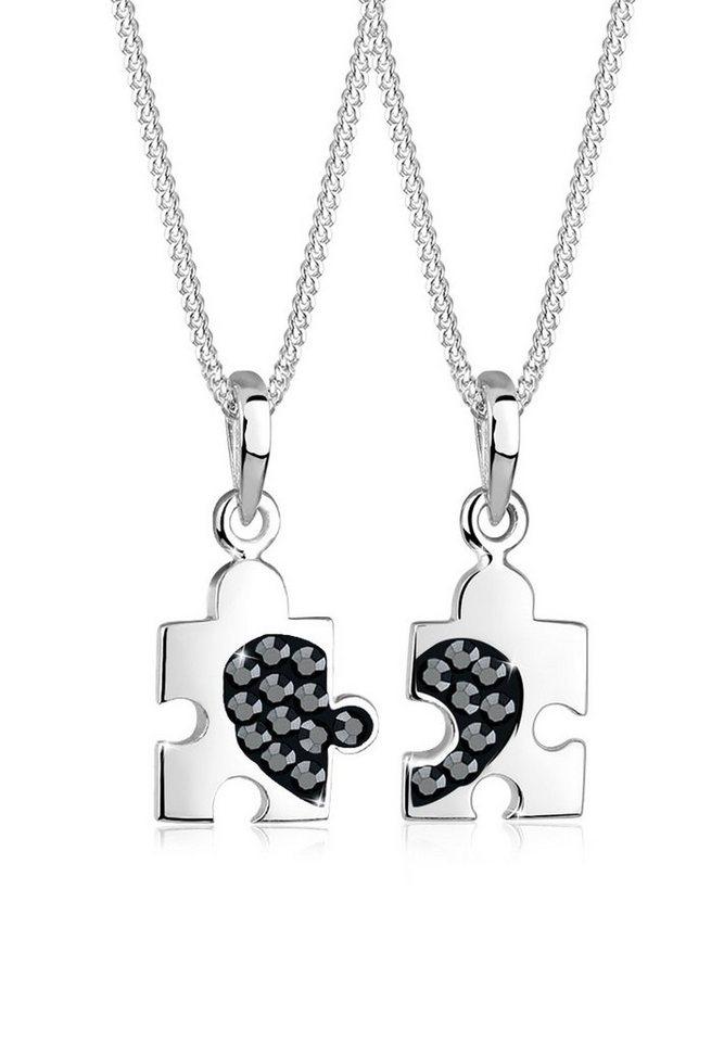 Elli Set: Halskette »Partnerkette Puzzle Swarovski Kristalle 925 Silber« 2 tlg. in Schwarz