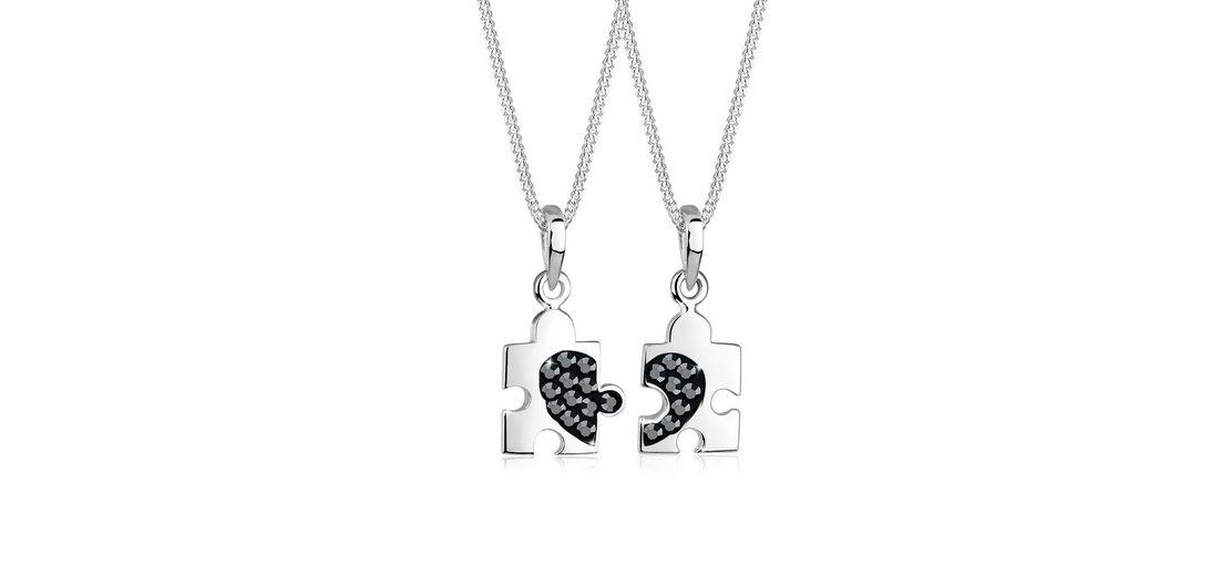 Elli Set: Halskette »Partnerkette Puzzle Swarovski Kristalle 925 Silber« 2 tlg.