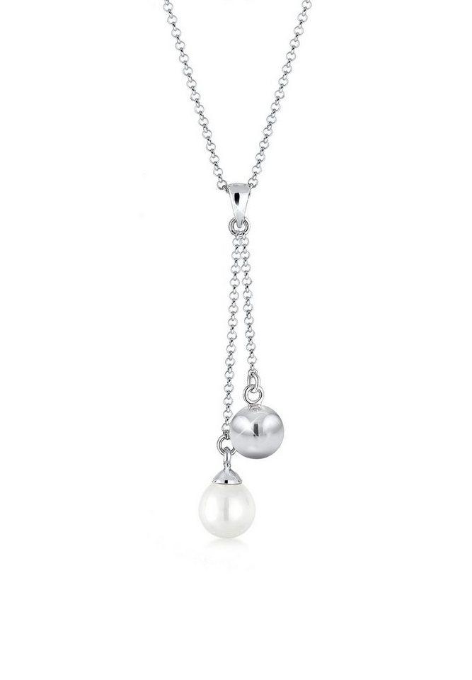 Elli Halskette »Y-Kette Perle Kugel 925 Sterling Silber« in Weiß