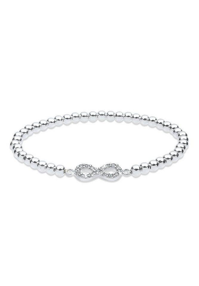 Elli Armband »Infinity Swarovski Kristalle 925 Sterling Silber« in Weiß