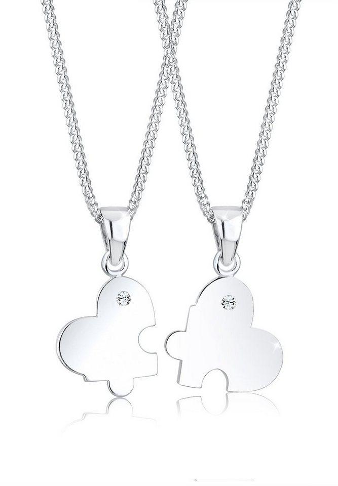 Elli Set: Halskette »Partnerkette Herz Swarovski® Kristalle 925 Sterlin« 2 tlg. in Weiß