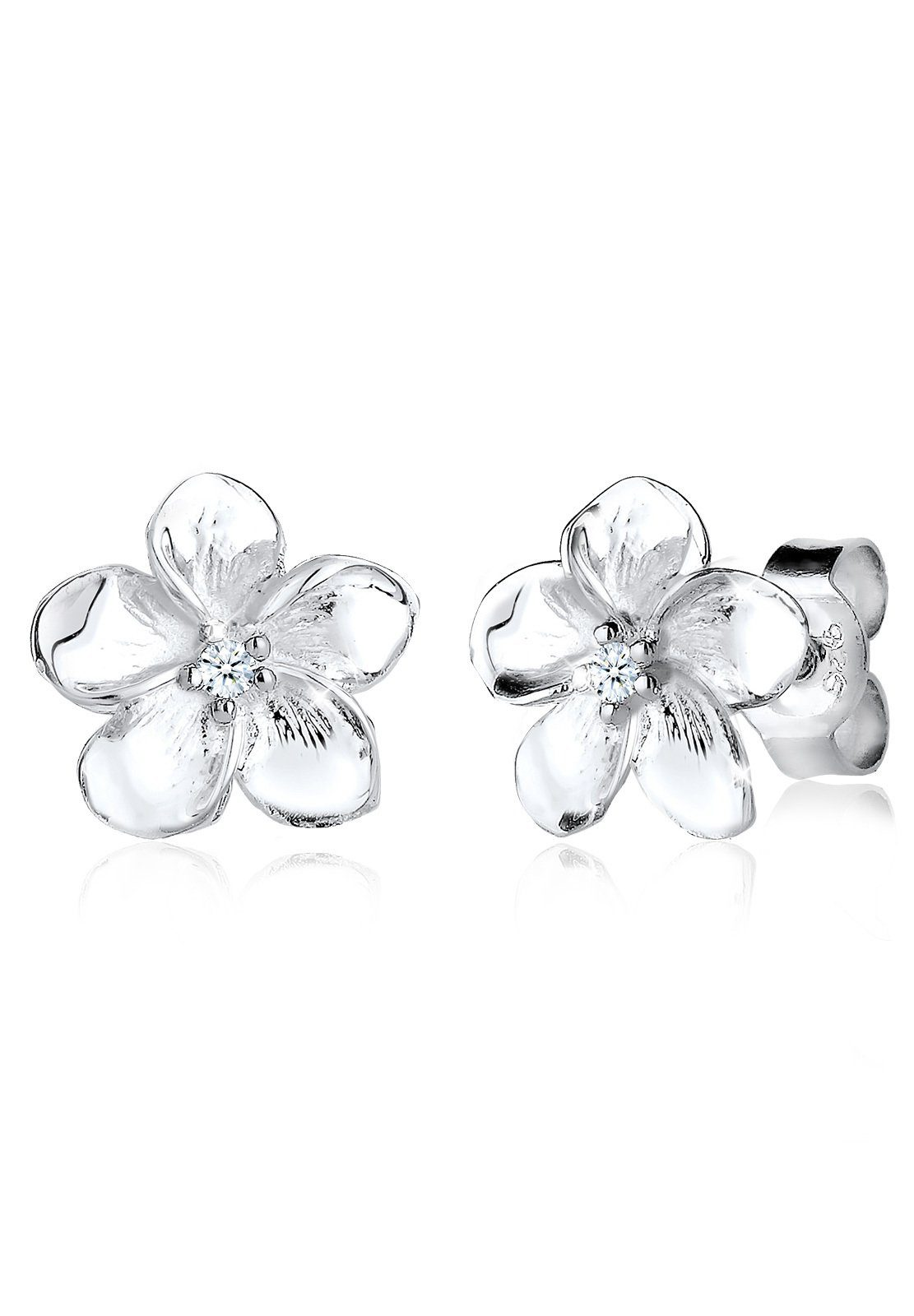 Diamore Ohrringe »Frangipani Blüte Diamant Blume Blüte 925 Silber«