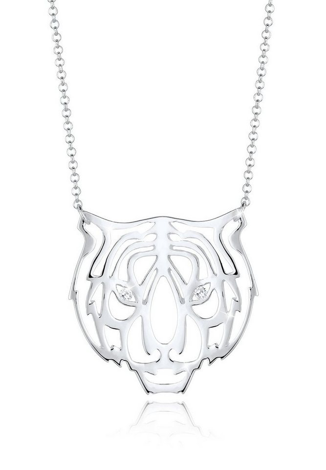 Elli Halskette »Tiger Safari Zirkonia 925 Sterling Silber« in Silber