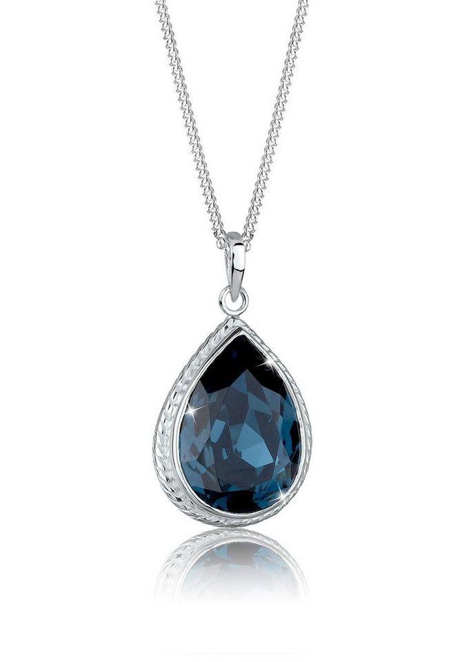 Elli Halskette »Tropfen Swarovski® 925 Sterling Silber« in Blau