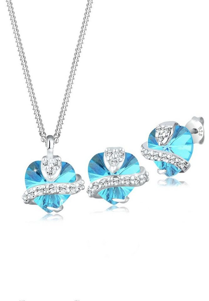 Elli Set: Schmuckset »Herz Swarovski® Kristall 925 Silber« 2 tlg. in Hellblau