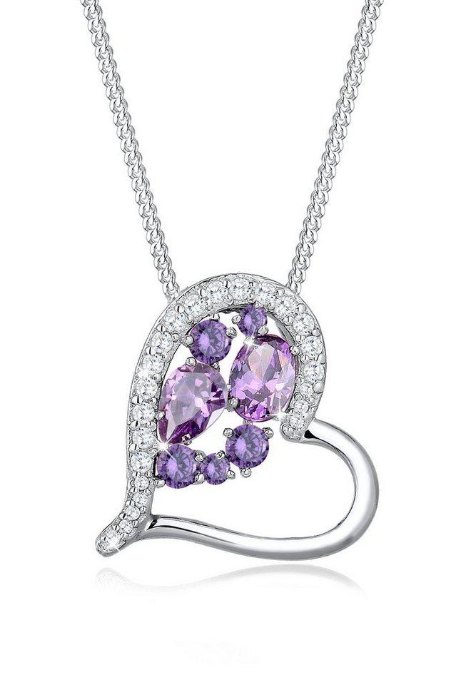 Elli Halskette »Herz Zirkonia Stein 925 Sterling Silber« in Violett