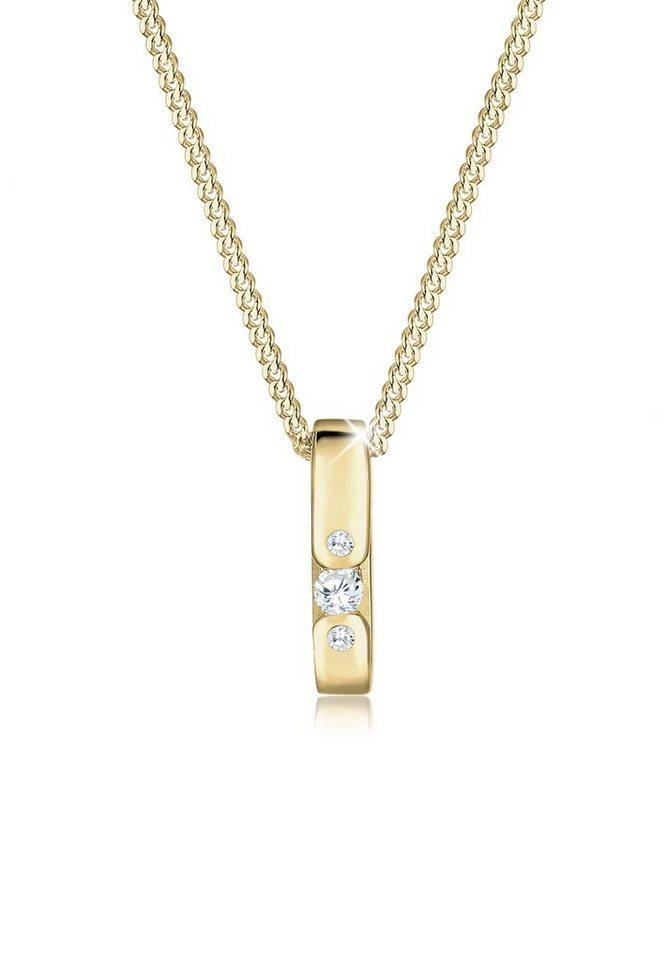Elli Halskette »Zirkonia 585 Gelbgold« in Weiß