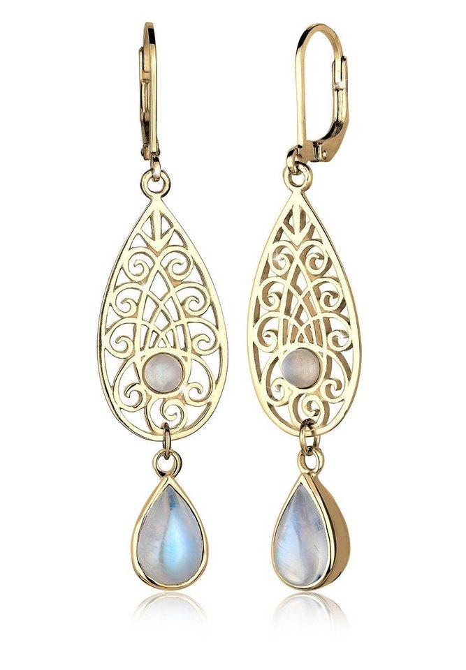 Elli Ohrringe »Tropfen Ornament Orientalisch Mondstein 925 Silber« in Gold