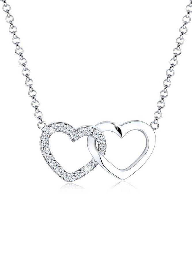Elli Halskette »Herz Verbundenheit Diamant 925 Sterling Silber« in Weiß