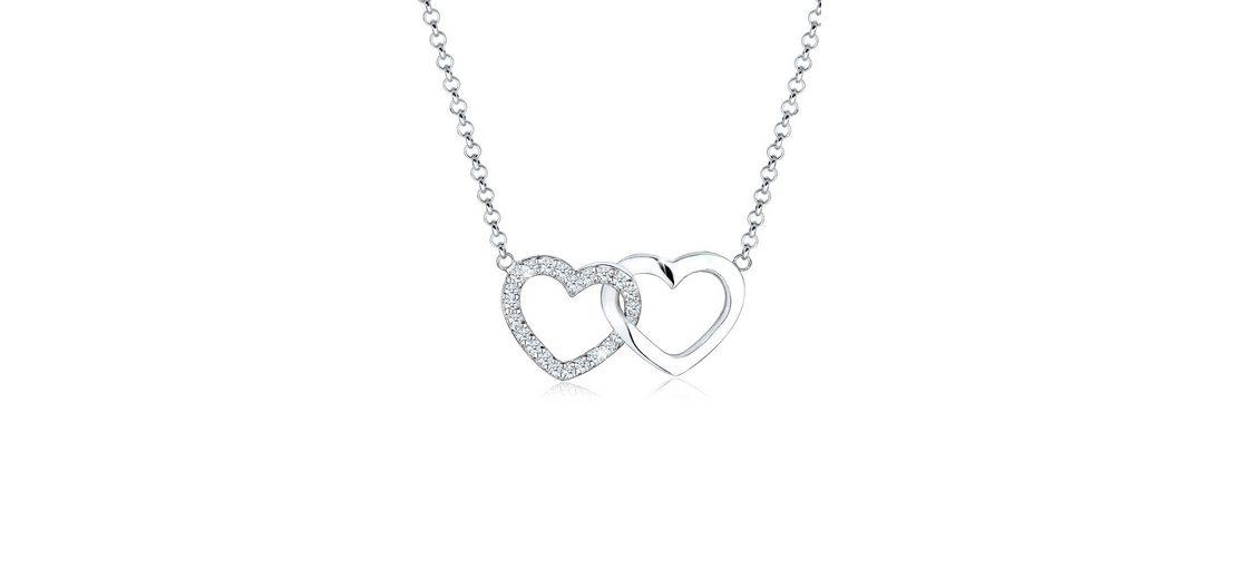 Elli Halskette »Herz Verbundenheit Diamant 925 Sterling Silber«