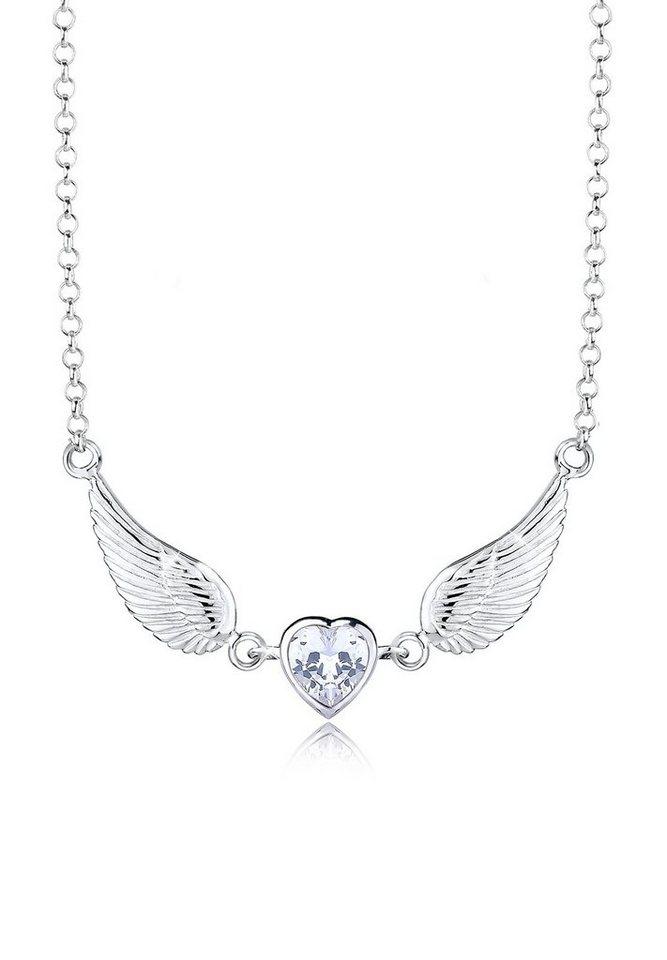 Elli Halskette »Flügel Herz Zirkonia 925 Sterling Silber« in Silber